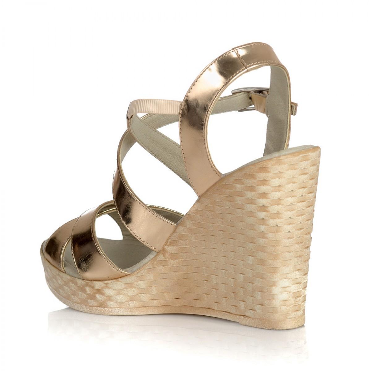 bbb2b2d9e4 Sandale cu platforma piele auriu