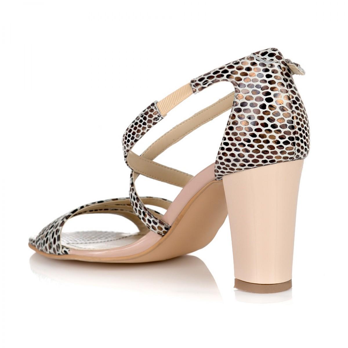 556ed93c54 Sandale Dama Piele Naturala Bej Sarpe