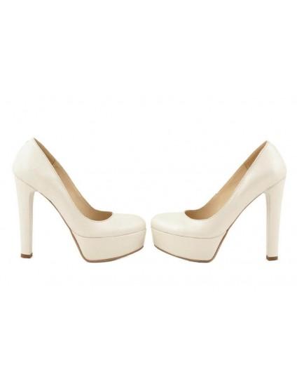 Pantofi Clara Crem  piele naturala- disponibili pe orice culoare