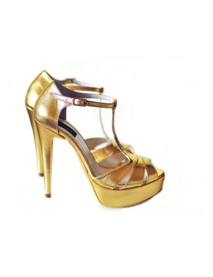 Sandale  Dama Piele Naturala Auriu  - disponibile pe orice culoare