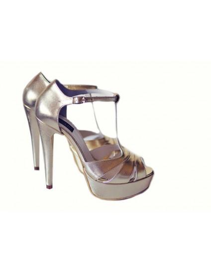 Sandale  Dama Piele Naturala Argintiu TOC GROS - pe stoc