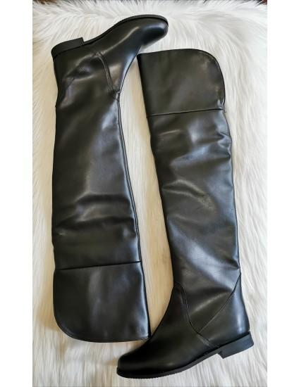 Cizme peste genunchi piele box  negra  C1 - pe stoc