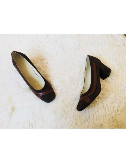 Pantofi office 17 din piele naturala intoarsa maro - pe stoc