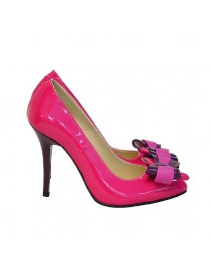 Pantofi piele stiletto Funda Fuchsia D17