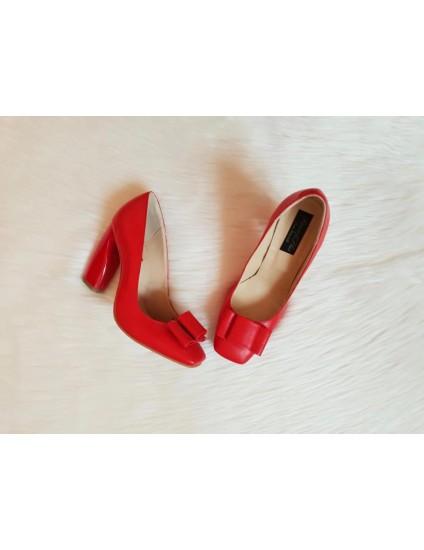 Pantofi piele Chic Madame Crook BOX ROSU - pe stoc