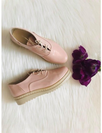 Pantofi Oxford Piele Lac Nude  C10 - pe stoc