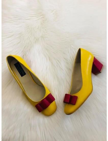 Pantofi Piele Galben/Rosu Office Chic - pe stoc