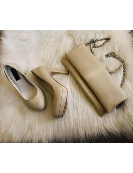 Set Pantofi Varf Ascutit si Platou Helen E10 + Plic nude - pe stoc