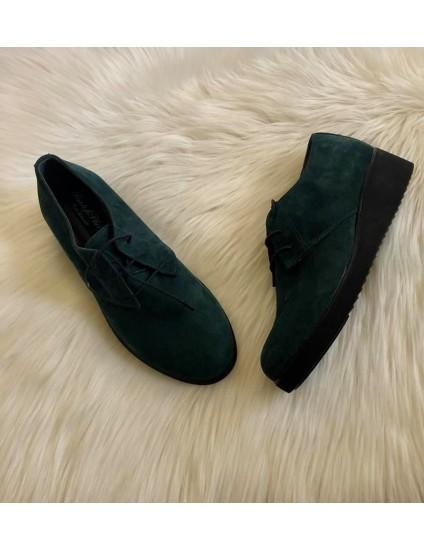 Pantofi piele intoarsa verde  Oxford V14 - pe stoc