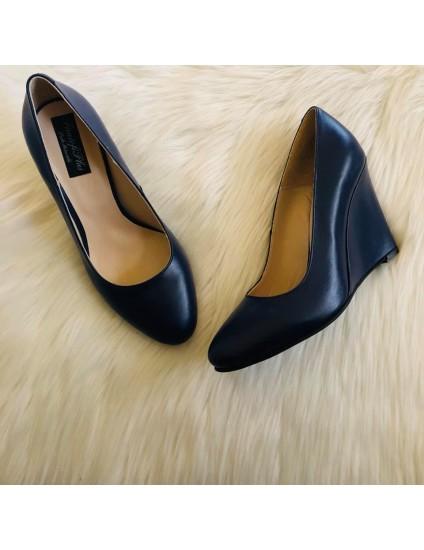 Pantofi cu Platforma Piele Bleumarin  Puzzled D10 - pe stoc