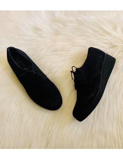 Pantofi piele intoarsa negru Oxford V14 - pe stoc