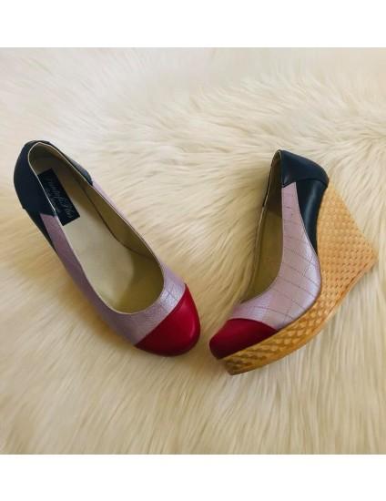 Pantofi piele cu platforma Eva Bleumarin, lila si rosu V1 - pe stoc