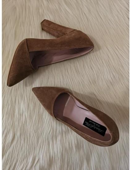 Pantofi Stiletto Toc Gros piele intoarsa nude C28 - pe stoc