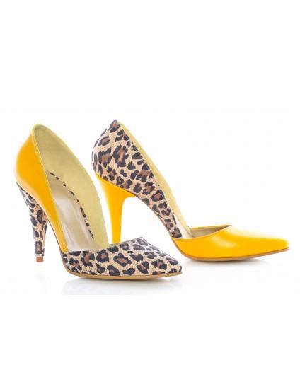 Pantofi Dama Stiletto M1 Piele Galben Animal Print -  orice culoare