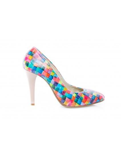 Pantofi Stiletto Multicolor piele naturala Casual  -orice culoare
