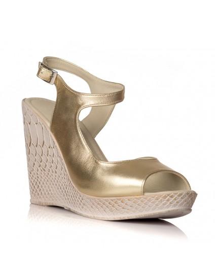Sandale cu platforma piele auriu Hannah - orice culoare