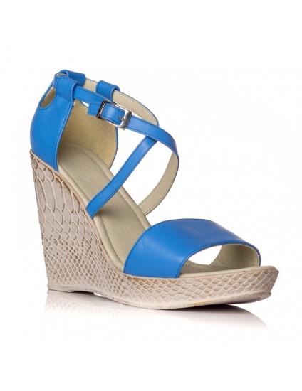 Sandale cu platforma piele albastru Lorena - orice culoare