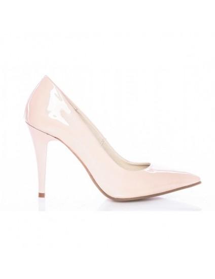 Pantofi Mini Stiletto Piele Intoarsa Nude - pe stoc