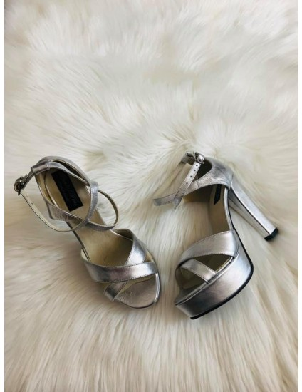 Sandale dama piele cu toc V1 Argintiu  - pe stoc