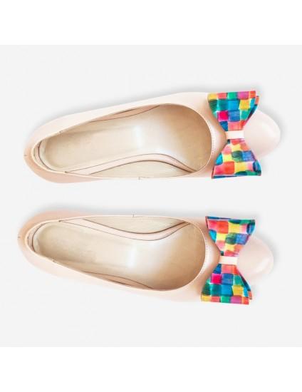 Balerini din piele cu funda Multicolor D1 - Orice culoare