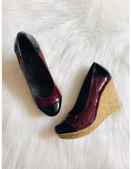 Pantofi piele cu platforma Eva  bordo si negru V1 - pe stoc