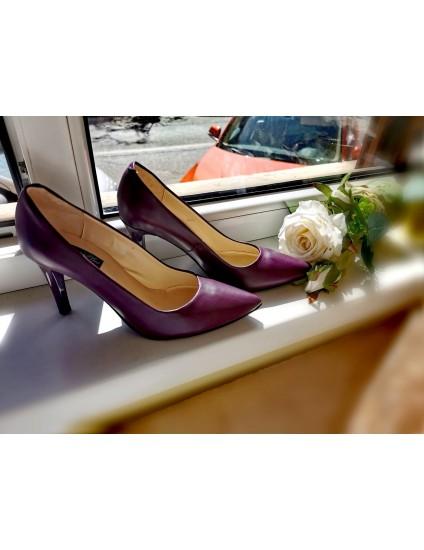 Pantofi Stiletto  Piele bordo C8  - pe stoc