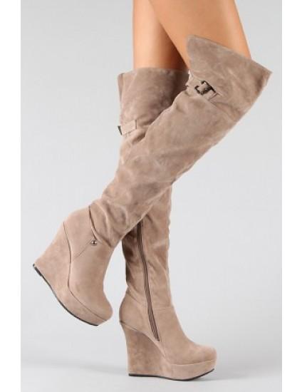 Cizme peste genunchi cu platforma, Piele Intoarsa -  Orice Culoare
