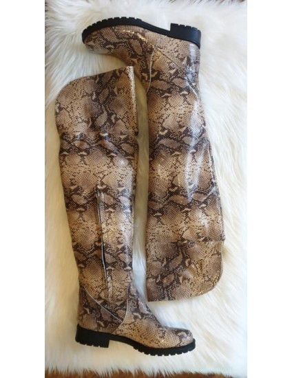 Cizme peste genunchi piele snake  C2 - pe stoc
