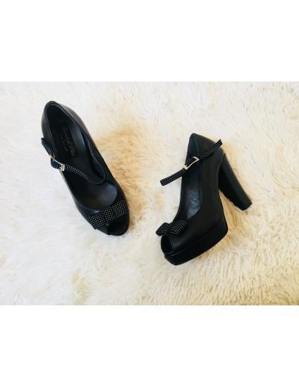 Pantofi Decupat Mini Tuxedo piele box negru si fundita+bareta negru cu buline albe - pe stoc