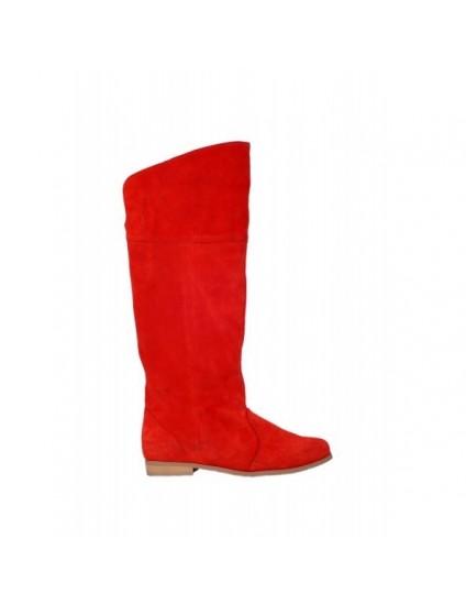Cizme Casual Iarna piele naturala intoarsa orice culoare-rosu corai - pe stoc