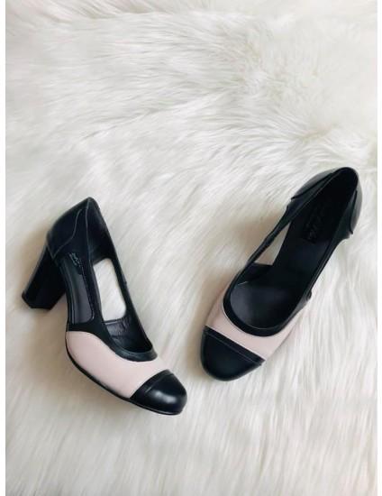 Pantofi piele naturala Cuty, negru si nude , pe stoc