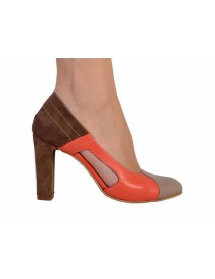 Pantofi piele naturala Cuty, disponibili pe orice culoare-orange
