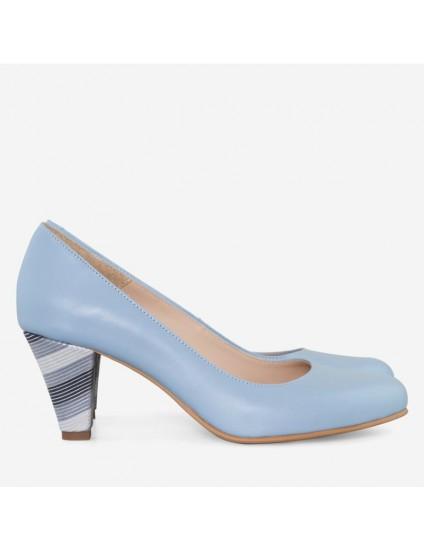 Pantofi Piele Bleu Toc Mic Comod D45 - orice culoare
