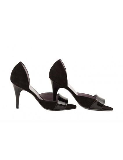 Pantofi dama piele naturala decupat negru  - disponibili pe orice culoare