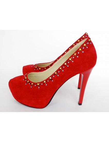 Pantofi Lori piele intoarsa cu Pietre aplicate manual