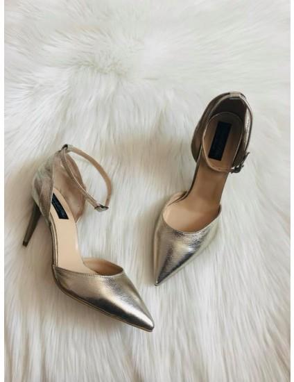 Pantofi Stiletto Auriu Emily C70 - Pe stoc