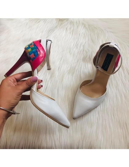 Pantofi Stiletto Alb /color /siclam  Emily C70 - pe stpc