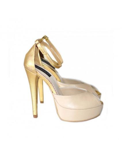 Sandale dama piele naturala Nude/Auriu- orice culoare