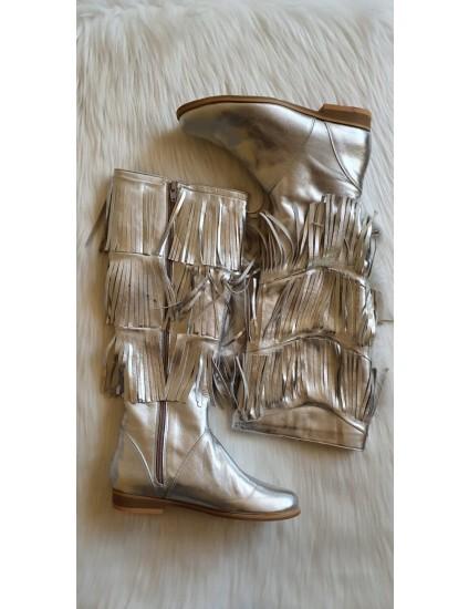 Cizme piele naturala  argintiu cu franjuri V17 - pe stoc