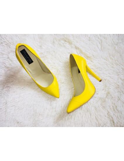Pantofi Stiletto V2  Piele BOX GALBEN - pe stoc
