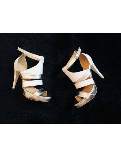 Sandale dama piele Glam F5  ALB SI ARGINTIU  - PE STOC