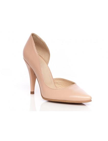 Pantofi Stiletto2 decupat  piele lacuita  nude- pe stoc