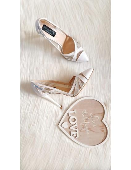 Pantofi Dama Piele Stiletto Alb si Argintiu Cathy - pe stoc