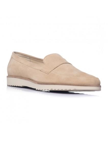 Pantofi barbati mocasini piele intoarsa maro inchis - pe stoc