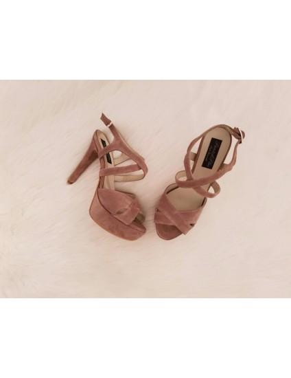 Sandale Modern 1 Nude, Piele intoarsa -  pe stoc