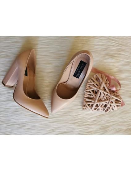 Pantofi Piele box nude L26 - pe stoc