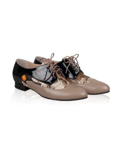 Pantofi dama Oxford piele capucino Varmi N10 - orice culoare