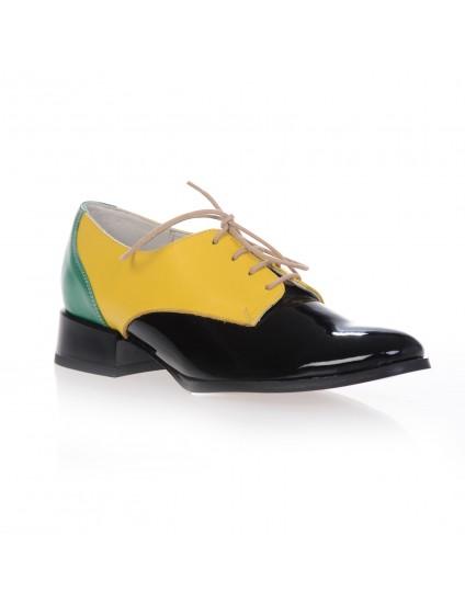 Pantofi Oxford Combi piele naturala, disponibili pe orice culoare - verde/galben/negru