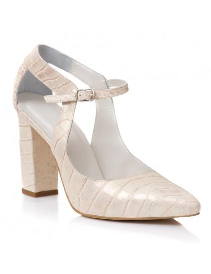 Pantofi Dama Piele Crem Agnes E11 - Orice Culoare