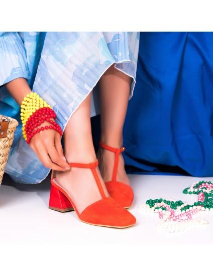 Pantofi Comod Piele Intoarsa Corai C58 - Orice Culoare